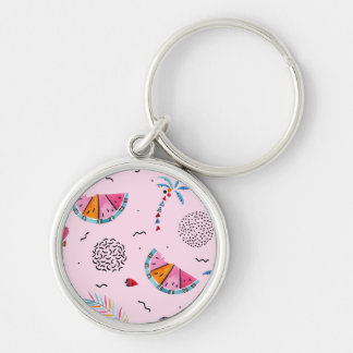 Tropical Pink Memphis Style Pattern Key Ring