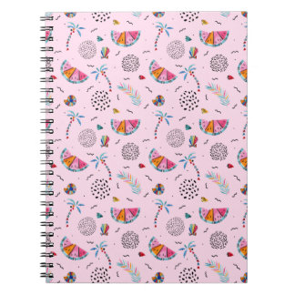 Tropical Pink Memphis Style Pattern Notebook