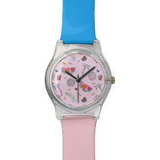 Tropical Pink Memphis Style Pattern Watch