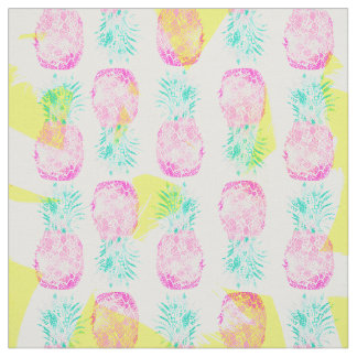 Tropical pink mint green yellow pineapples pattern fabric