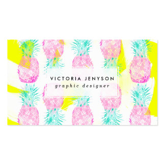 Tropical pink mint green yellow pineapples pattern pack of standard business cards