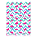 Tropical Pink Neon Flamingos Teal Glitter Chevron Personalised Invite