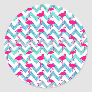 Tropical Pink Neon Flamingos Teal Glitter Chevron Stickers