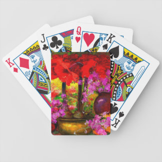TROPICAL PINK ORCHIDS RED AMARYLLIS STILL LIFE BICYCLE PLAYING CARDS