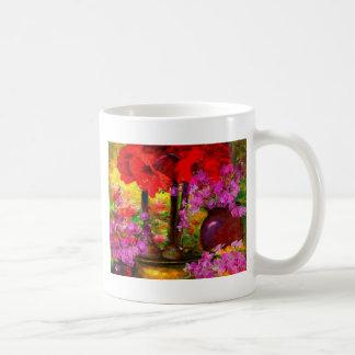 TROPICAL PINK ORCHIDS RED AMARYLLIS STILL LIFE COFFEE MUG