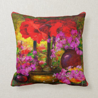 TROPICAL PINK ORCHIDS RED AMARYLLIS STILL LIFE CUSHION