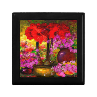 TROPICAL PINK ORCHIDS RED AMARYLLIS STILL LIFE GIFT BOX