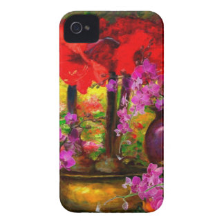 TROPICAL PINK ORCHIDS RED AMARYLLIS STILL LIFE iPhone 4 Case-Mate CASES