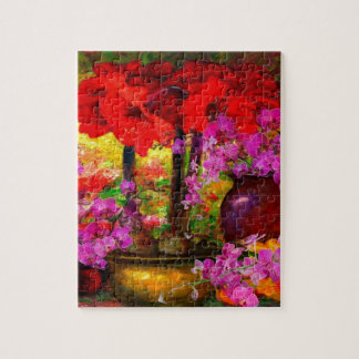 TROPICAL PINK ORCHIDS RED AMARYLLIS STILL LIFE JIGSAW PUZZLE