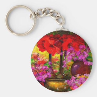 TROPICAL PINK ORCHIDS RED AMARYLLIS STILL LIFE KEY RING