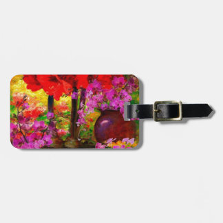 TROPICAL PINK ORCHIDS RED AMARYLLIS STILL LIFE LUGGAGE TAG