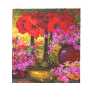 TROPICAL PINK ORCHIDS RED AMARYLLIS STILL LIFE NOTEPAD