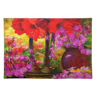 TROPICAL PINK ORCHIDS RED AMARYLLIS STILL LIFE PLACEMAT
