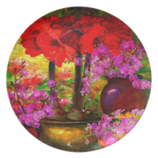 TROPICAL PINK ORCHIDS RED AMARYLLIS STILL LIFE PLATE
