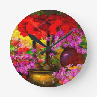 TROPICAL PINK ORCHIDS RED AMARYLLIS STILL LIFE ROUND CLOCK