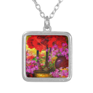 TROPICAL PINK ORCHIDS RED AMARYLLIS STILL LIFE SILVER PLATED NECKLACE