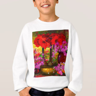 TROPICAL PINK ORCHIDS RED AMARYLLIS STILL LIFE SWEATSHIRT