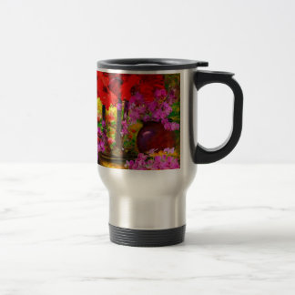 TROPICAL PINK ORCHIDS RED AMARYLLIS STILL LIFE TRAVEL MUG
