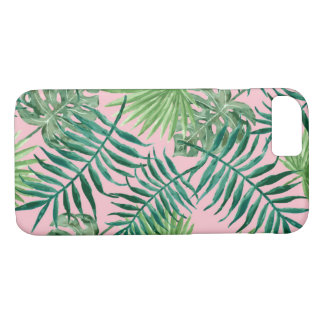Tropical Pink Palm Fronds and Ferns iPhone 8/7 Case