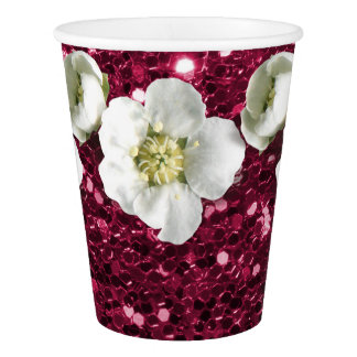 Tropical Pink Rubin Glitter Flower White Jasmin Paper Cup