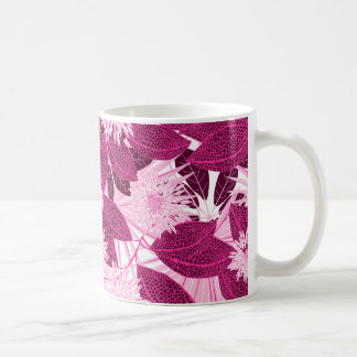 Tropical pink spotted floral coffee mug