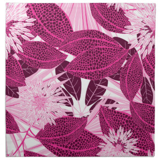 Tropical pink spotted floral napkin