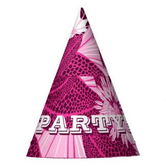 Tropical pink spotted floral party hat
