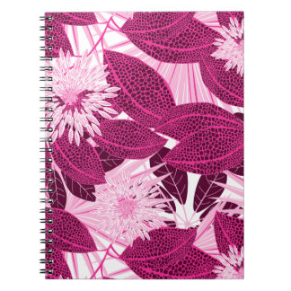 Tropical pink spotted floral spiral notebook