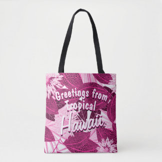 Tropical pink spotted floral tote bag