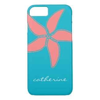 Tropical Pink Starfish on Teal Blue Optional Name iPhone 7 Case