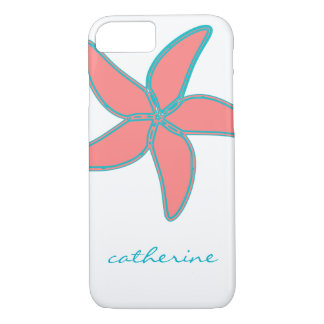 Tropical Pink Starfish on White Optional Name iPhone 7 Case