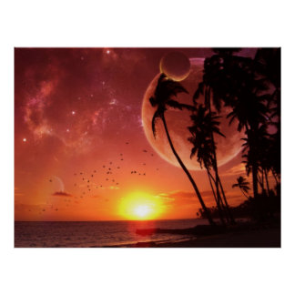 Tropical Planetary Sunset Poster