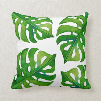 Tropical plant leaves watercolor home decor pillow