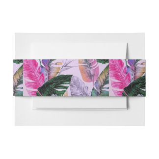 Tropical Plant Pattern Belly Band Invitation Belly Band