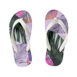 Tropical Plant Pattern Kids Flip Flops