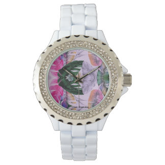 Tropical Plant Pattern Women's Rhinestone Watch