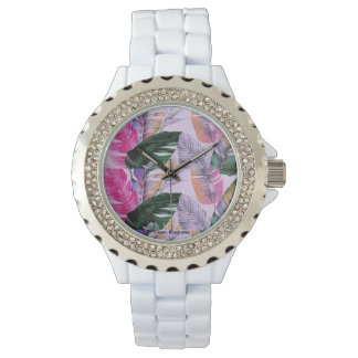 Tropical Plant Pattern Women's Watch