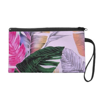 Tropical Plant Pattern Wristlet Purse