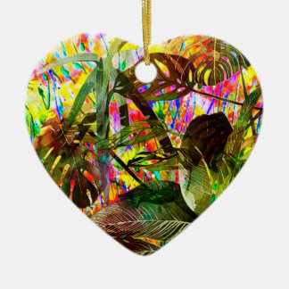 Tropical Plants and Flowers Ceramic Heart Decoration