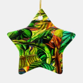 Tropical Plants Ceramic Star Decoration