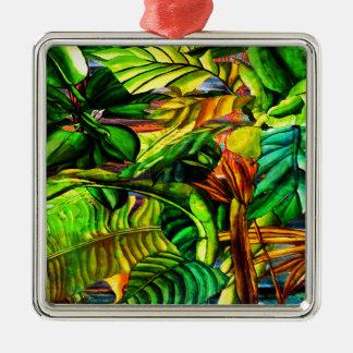 Tropical Plants Silver-Colored Square Decoration