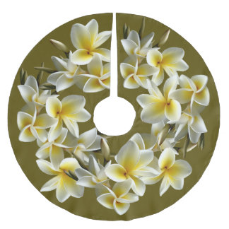 Tropical Plumeria Border Christmas Tree Skirt