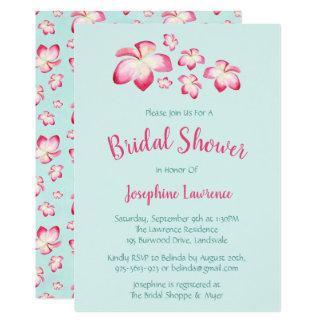 Tropical Plumeria Bridal Shower Invitations