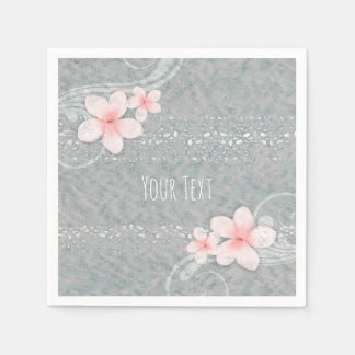 Tropical Plumeria Flower Grey Pink Summer Party Paper Napkin
