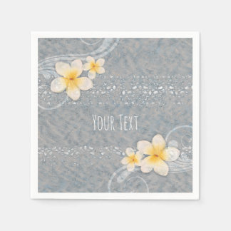 Tropical Plumeria Flower Grey Yellow Summer Party Disposable Napkin