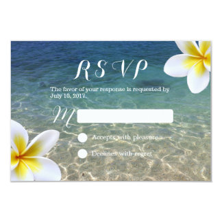 Tropical Plumeria Flowers Beach Wedding RSVP Card