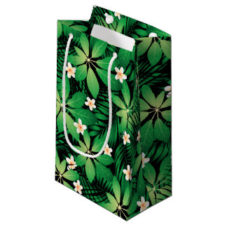 Tropical plumeria lush forest small gift bag