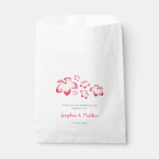 Tropical Plumeria Pink Watercolor Wedding Favour Bag