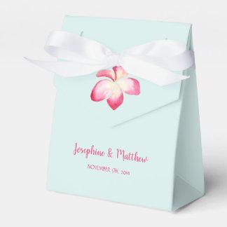 Tropical Plumeria Pink Watercolor Wedding Favour Box