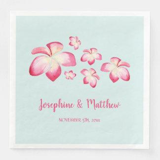 Tropical Plumeria Pink Watercolor Wedding Paper Serviettes